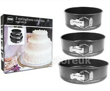 3 PCS SPRINGFORM CAKE TINS NO STICK PAN SET SPRIN FORM ROUND BAKING TRAY AM5700