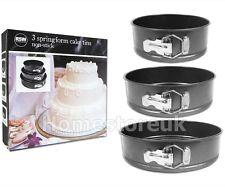 3 PCS SPRINGFORM CAKE TINS NO STICK PAN SET SPRIN FORM ROUND BAKING TRAY AM5700