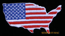 USA FLAG MAP OUTLINE RED WHITE & BLUE PATCH