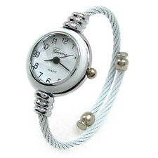 White Silver Cable Band Ladies Petite Bangle Cuff Watch