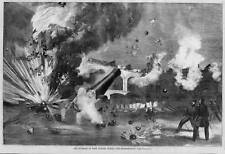 CIVIL WAR 1861 BOMBARDMENT OF FORT SUMTER CANNON BALL EXPLOSION SOLDIERS CANNON