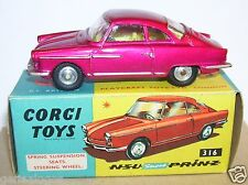 OLD RARE CORGI TOYS NSU SPORT PRINZ COUPE ROUGE ROSE METAL1963 REF 316 IN BOX a