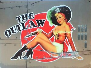 Platte Metall Vintage Pin Up Die Outlaw Flugzeug- Bombardier - 40 X 30 CM