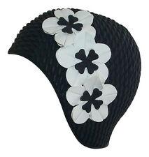 Fashy Damen Schwarz Schwimm Hat - Badekappe mit 3 Blumen - Retro Baden Cap