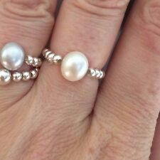 WHITE FRESHWATER PEARL STERLING SILVER STRETCH RING STACKING DESIGNER JEWELLERY