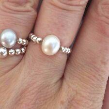 Blanco Agua Dulce Perla Plata estiramiento anillo de apilamiento de diseñador de joyas