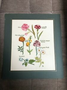vintage quality embroidery work - flowers ( mounted )