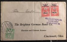 1918 Teke Hungary Commercial Cover To Brighton German Bank Cincinnati OH USA