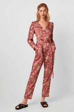 FRENCH CONNECTION RED OCHRE PAISLEY PRINT JUMPSUIT SIZE UK 10