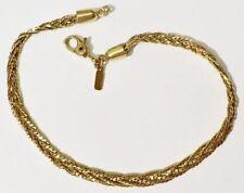 bracelet bijou vintage signé MONET couleur or maille plate tressé * 3546