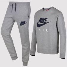 3b194bb7b4cb Nike Air Crew Mens Fleece Sweatshirt Sports Track Top Heather Grey Navy M