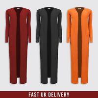 New Womens Ladies Rib Long Open Kimono Coat Jacket Long Sleeve UK Sizes 6-16