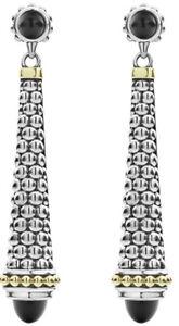 $700 Lagos Black Onyx Earrings Long Caviar Post Drop Sterling 18K Gold New Sale