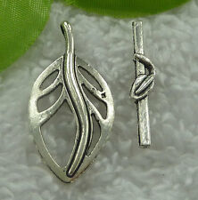 Free Ship 50 sets tibet silver leaves clasp 30x6`37x18mm #2097