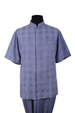 Men's Walking Suit Short Sleeve Banded-Collar Checker Casual Shirt & Solid Pants
