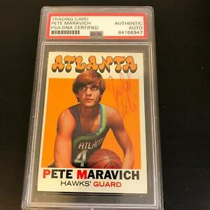 Rare 1971 Topps Pistol Pete Maravich Signed Autographed Basketball Card PSA DNA