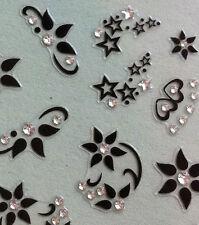 Nail Art 3D Sticker Crystal Decal Black Flower Heart and Star 42 pcs/shee Summer