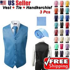 SET Vest Tie Hankie Fashion Men's Formal Dress Suit Slim Tuxedo Waistcoat Coat