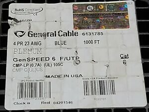 General Cable GenSPEED 6 23/4P Cat6 F/UTP Shield Network Cable Plenum Blue/100ft