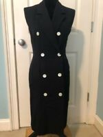 Anne Klein Vintage Pure Wool Black Tuxedo Dress Sleeveless  Sz 4 80's