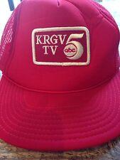 Vintage KRGV TV Channel 5 ABC Red White Trucker Mesh Snapback Hat w/ Patch