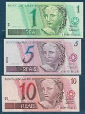 Brazil 1 Real 5 10 Reais 3Pcs Set, 1994 1997, P 243e 244g 245Ak, UNC