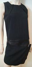 ATOS LOMBARDINI Black Drop Waist Sleeveless Wiggle Pencil Dress Sz:42 UK10 BNWT