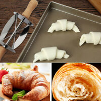 Pastry  Bread Wooden Handle Croissant Wheel Baking Kitchen Tool Rolling Cutter