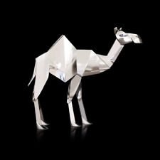 Camel Hallmarked Sterling Silver Rhodium Plated Origami [4016S]