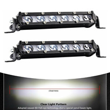 2pcs 120W Single Row LED Spot Work Light Bar Off-Road 8 Inch 6000K Xenon White