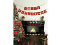 Merry Christmas Bunting Card Hanging Decorations Tree Rustic Banner Garland