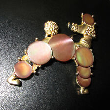Signed BOUCHER gold plated  Poodle  Brooch Mother of Pearls  GREAT