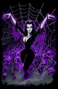 VAMPIRA SPIDER WEB Art Print Poster gothic pinup art Scott Jackson