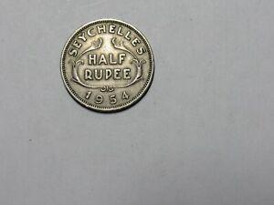 Old Seychelles Coin - 1954 Half Rupee - Circulated, cut, spot