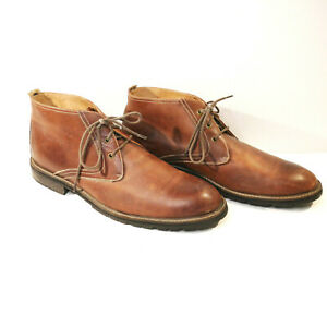 FLORSHEIM Brown Leather 13 D Chukka Boot 15062 Ankle Lace Up Burnished Plain Toe