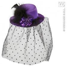 PURPLE Mini Cappello Con Velo & Rose Halloween Sposa Fancy Dress