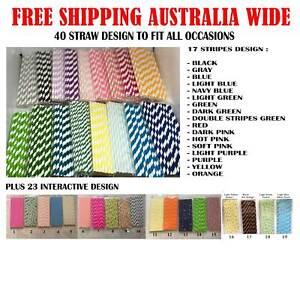 50 Pcs High Quality 40 Designs paper straw Drinking Paper Straws SYDNEY STOCK