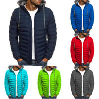 Outwear Down Quilted Zip Men Warm Hooded Jacket Puffer Winter Bubble Padded Coat