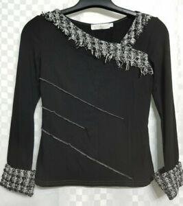 CACHE CACHE Top Size S Black Asymetric Stretch Long Sleeve Workwear