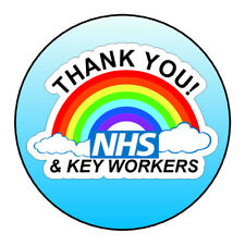 Thank You NHS Keyworkers Stickers Labels Blue Ombre Sweet Cones Gifts Seals