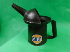 GULF 1 QUART CAPACITY METAL OIL CAN WITH POURING SPOUT MAN CAVE GARAGE DECOR
