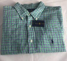 BNWT Ralph Lauren Men's Cotton Shirt Myrtle Green Check Size S Save £70.00