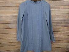 A.P.C. Womens Smock Tunic Mini Dress Blue Ivory Check Long Sleeve Size M APC