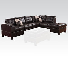 Espresso Bonded leather Sectional Sofa Couch Sofa & Chaise Plush Seat Furniture