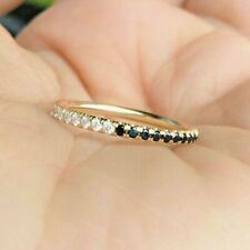 Eternity Band Ring 14K Yellow Gold Over 0.50 Ct Round White & Black Diamond Full