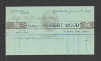 1899 ROBERT WOOD COMMERCIAL PRINTING PHILADELPHIA PA ANTIQUE BILLHEAD