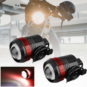 2Pcs Motorcycle Hi-Lo Spot Light LED Driving Headlight Fog Lamp w/ Switch Red