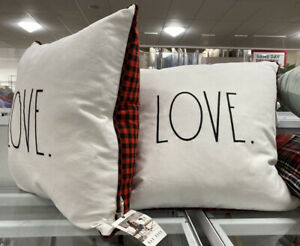 1 Rae Dunn LOVE Square Cream Pillow Red Black Gingham Plaid Valentine's Day