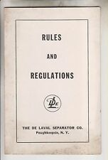1956 RULES AND REGULATIONS - THE DE LAVAL SEPSRSTOR CO. - POUGHKEEPSIE NY