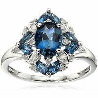 Echt 925 Silber Ring Rubin Edelstein Damen Blumen Ring Romantische Geschenk Neu.
